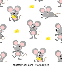 cute mouse and cheese seamless pattern