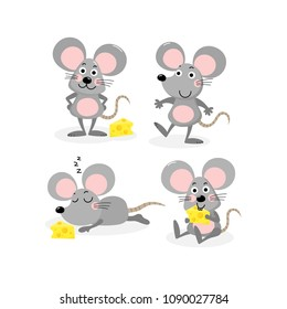 Cute mouse and cheese vector set. Little rat with food.  Animal wildlife cartoon character.