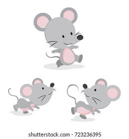 Cute mouse in different pose. Vector illustration.