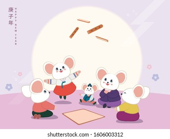 A cute mouse family (dads, grandmothers, grandfathers and grandchildren) wearing hanbok are playing Korean traditional play Yut on the New Year's Day of 2020. (Translation: Year of the rat)