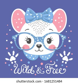 Cute mouse girl face with footprint. Wild and Free slogan. Vector illustration for children print design, kids t-shirt, baby wear