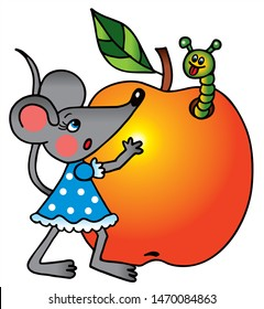 Cute mouse is holding a big apple. Colored vector for card or gift.