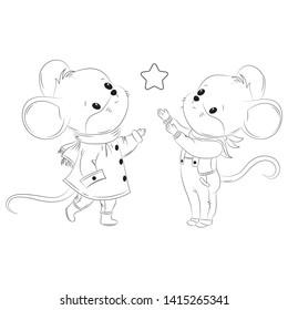 Cute mouse line cartoon vector illustration