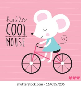 cute mouse on bicycle vector illustration