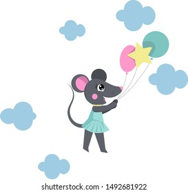 Cute mouse painted by hand. Scandinavian illustration for a poster or postcard. The atmosphere of the party and cheerful mood.