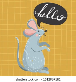 """Cute mouse and speech bubble with creative lettering. Typography slogan design """"hello"""" sign. Vector illustration on checkered background."""