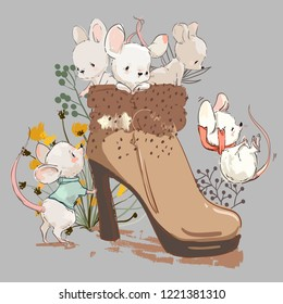 cute mouses in boot