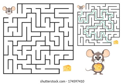 Cute Mouse's Maze Game (help mouse to find his cheese) Maze puzzle with solution. Vector illustration
