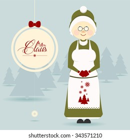 Cute Mrs. Claus Christmas Character. Christmas vector illustration