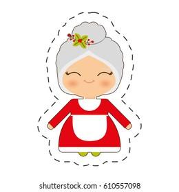 cute mrs. claus christmas cut line vector illustraiton eps 10