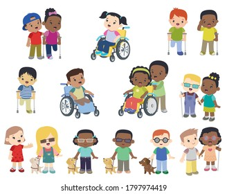 Cute Multi Ethnic Smiling Children with Disabilities Set, Flat Vector Illustration for Web, Clip Art Design Elements Isolated on White, Blind Person with Guide Dog, Girl in Wheel Chair Boy with Crutch