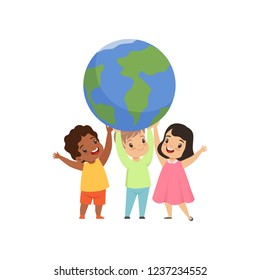 Cute multicultural little kids standing under the Earth globe and holding it, friendship, unity conceptvector Illustration on a white background