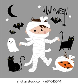 cute mummy vector, Halloween