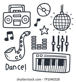 Cute music industry doodle illustration set