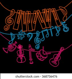cute musical signs, notes, piano keys, children instruments like a bunting. cartoon vector