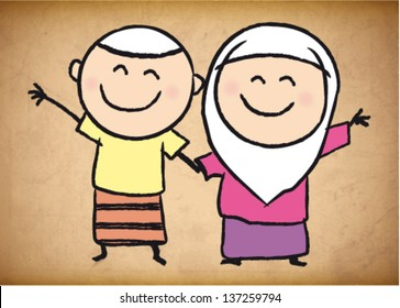 Cute muslim boy and girl sketch background. vector illustration