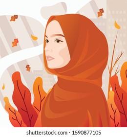 Cute muslim woman wearing veil illustration,Muslim woman with hijab character