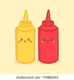 Cute Mustard Tomato Ketchup Bottle Vector Illustration Cartoon Character Smile