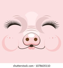 cute muzzle of a pink pig. Vector illustration of the cheeful happy pig face on pink background.