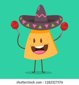 Cute Nachos character in sombrero with maracas. Funny mexican food vector cartoon illustration isolated on background.