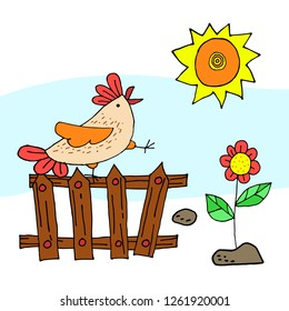 Cute, naive cock in the morning sings, sitting on the fence. Sun, flower and stones. Illustration of a hand drawing