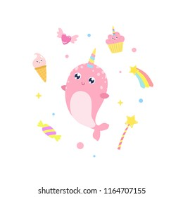 Cute narwhal and magical items vector illustration.