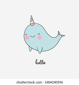 Cute Narwhal vector print. Cute hand drawn illustration with cartoon  Narwhal.