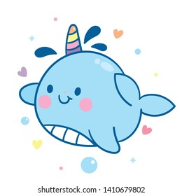 Cute Narwhal vector, unicorn of the sea, Kawaii character cartoon, hand drawn isolated on a white background