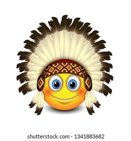 Cute native American emoji, emoticon - isolated vector illustration - Indian headdress