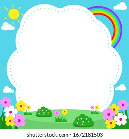 Cute nature landscape background. Frame template design with cute nature theme for kids