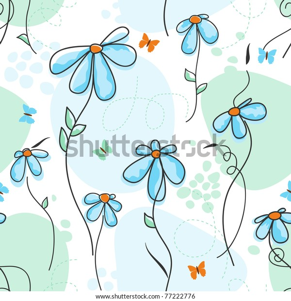 Cute nature seamless pattern