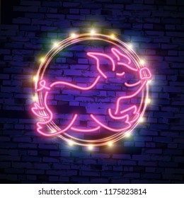 Cute Neon pig. Happy Chinese New Year 2019 design template vector. Chinese New Year of Pig greeting card, Light banner, neon style.