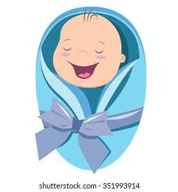 Cute new born baby boy vector illustration