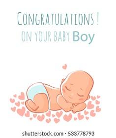Cute new born baby boy. Vector flat illustration