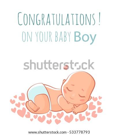 cute new born baby boy vector flat illustration