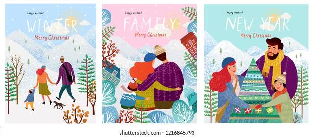 可爱的新年和圣诞矢量插图一个充满爱心的快乐家庭在冬季度假,妈妈,爸爸和宝宝走在自然界,拥抱和装饰圣诞树