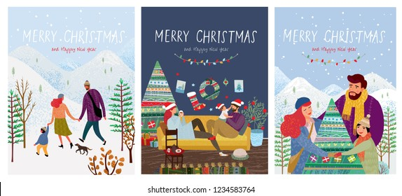 cute new year and christmas vector illustrations of a loving happy family on a winter vacation, mom, dad and child are walking in nature, play with the baby at home and decorating a Christmas tree