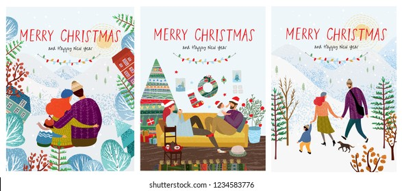 cute new year and christmas vector illustrations of a loving happy family on a winter vacation, mom, dad and child are walking in nature, play with the baby at home and  hugging in forest