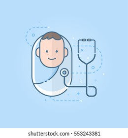 Cute newborn baby icon with the stethoscope, flat symbol design. Vector illustration.