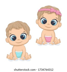 Cute newborn girl and boy. Vector illustration for baby shower, greeting card, party invitation, fashion clothes t-shirt print.