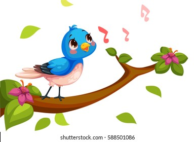 Cute nightingale singing cartoon