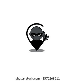Cute ninja character design template with pins, Location vector map symbol drawn on a white background for graphic and web design,