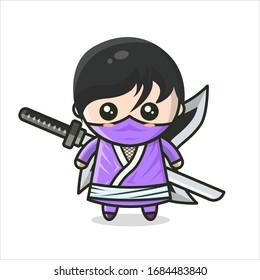 Cute Ninja Shinobi Male Kawaii Stand With Weapon Kunai,Shuriken and Samurai Sword Purple Costume Ninja Mascot Character Cartoon Vector Illustration Flat Design Concept. Isolated on White Background