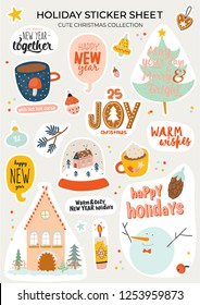 Cute nordic autumn and winter elements. Isolated on background. Motivational typography of hygge quotes. Scandinavian style illustration good for stickers, labels, tags, cards, posters. Vector