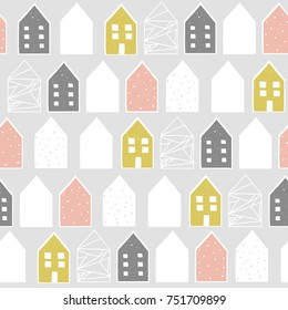 Cute nordic pattern with houses, vector illustration