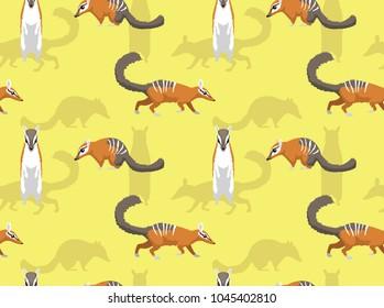 Cute Numbat Poses Seamless Wallpaper