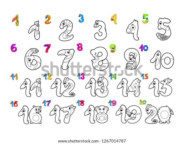 Cute Number Sets Coloring Books Childrens Stock Vector ...