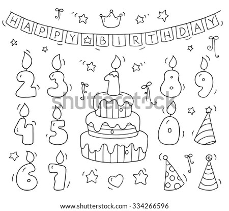 Cute Number Shaped Candles Set Cartoon Birthday Cake And Lighting In The Form Of