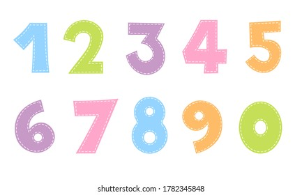 Cute Number Stitch Design Character zero one two three four five six seven eight nine cartoon doodle set - Shutterstock ID 1782345848