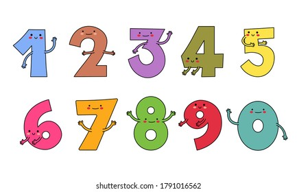 Cute Numbers Cartoon Character Set zero one two three four five six seven eight nine - Shutterstock ID 1791016562